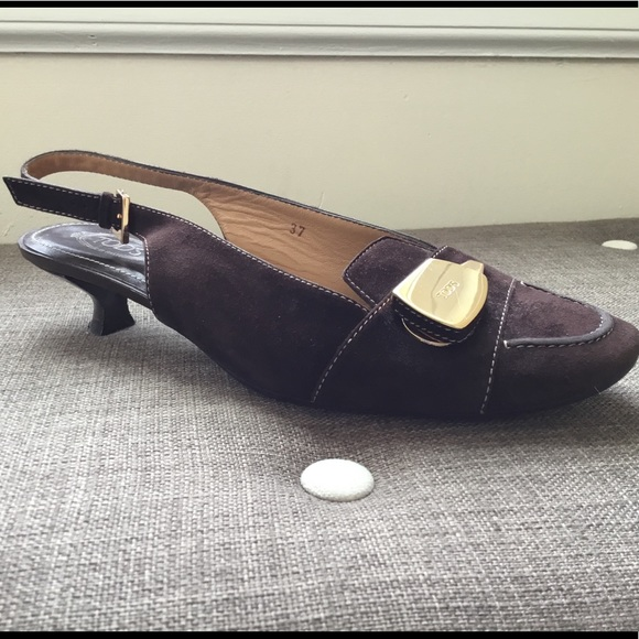 Tod's Shoes - 👠 Tod's Brown Suede Slingback Kitten Heels  👠